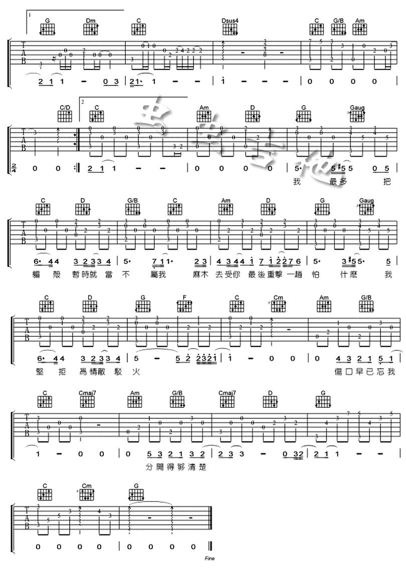 傷追人-古巨基-图片吉他谱-1