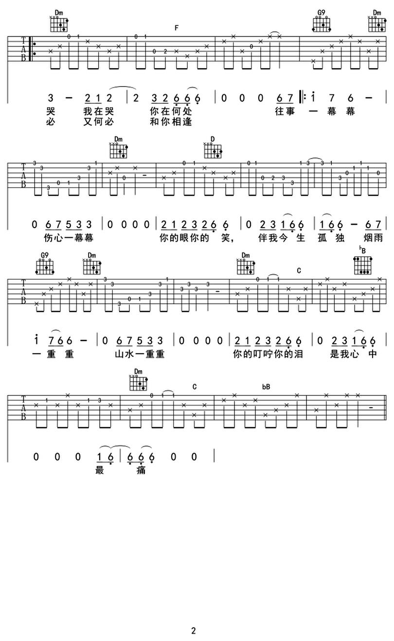 煙雨濛濛-古巨基-图片吉他谱-1